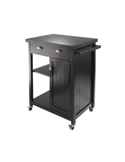 Timber Kitchen Cart with Wainscot Panel in Black Finish