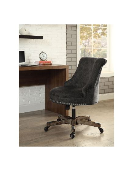 Sinclair Office Chair Green in Dark Walnut Wood Base