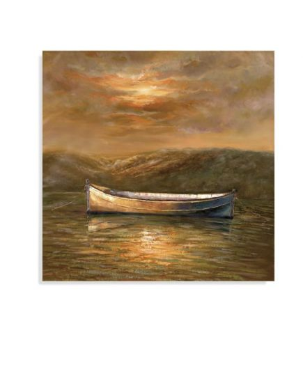 Sunset Canoe in Canvas Wrap