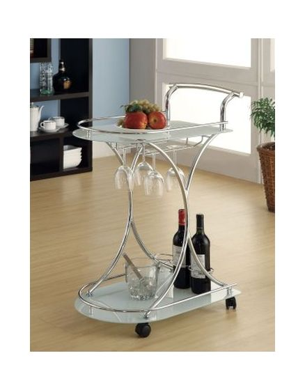 Serving Cart with 2 Frosted Glass Shelves in Light Chrome