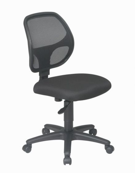 Mesh Screen Back Task Chair with Fabric Seat in Black