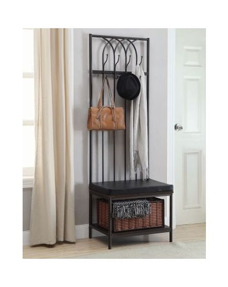 Hall Tree Upholstered Bench with Storage