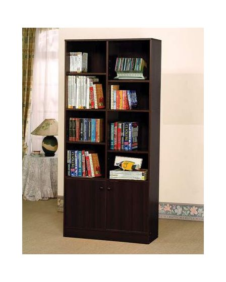 Verden Bookcase with 2 Doors in Espresso