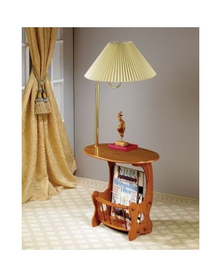 Magazine Table with Brass Swing Arm Lamp in Oak