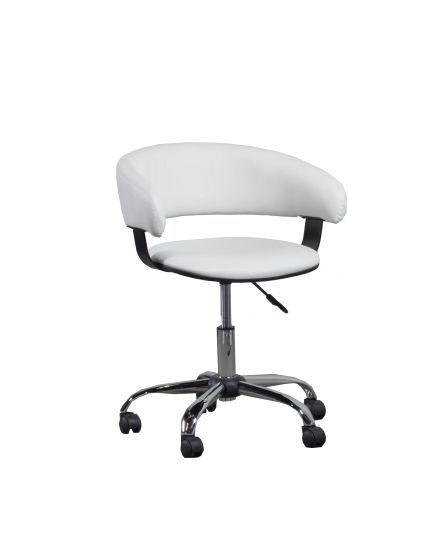 White Gas Lift Desk Chair with Chrome Finish