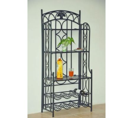Iron 5 Tier Bakers Wine Rack In Pewter