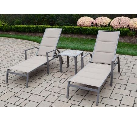 3-Piece Set Include 2 Padded Sling Aluminum Chaise Lounges ... on Living Accents Sling Folding Chaise id=72815