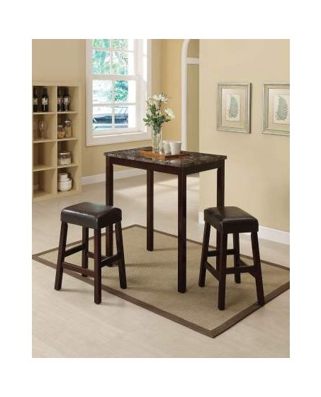 Idris 3 Piece Stoneberry Counter Height Set in Espresso
