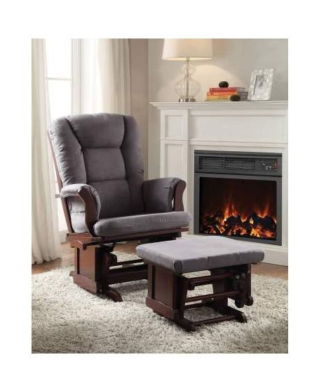 Aeron 2 Piece Glider Chair & Ottoman in Gray Mfb & Cherry