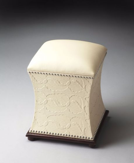 Embossed Cream Leather and Nail-Head Ottoman