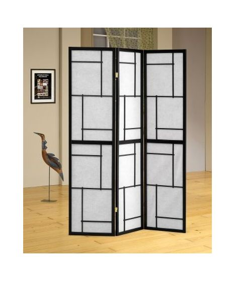 Three Panel Screen Room Divider in Black
