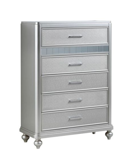 Bling 5 Drawer Chest in Silver