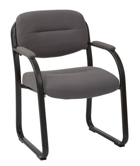 Deluxe Visitors Chair with Sled Base in Charcoal