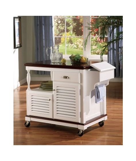 Cherry Top Storage Kitchen Cart in White Finish