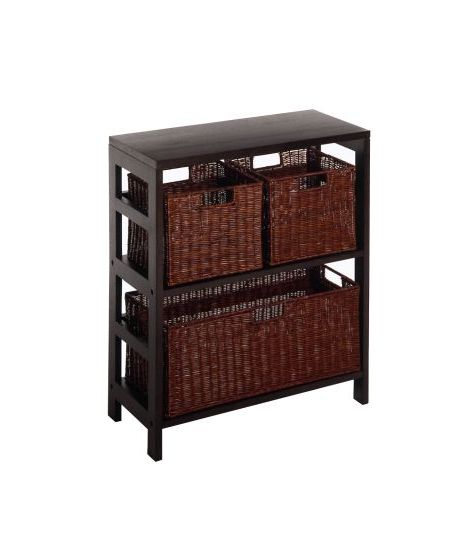 Leo 4 Piece Shelf and Basket Set in Espresso Beechwood