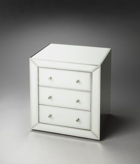 Bella White Mirrored Chairside Chest