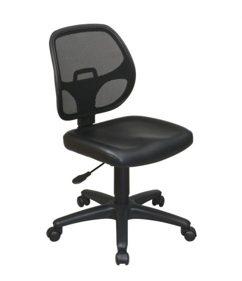 Mesh Screen Back Task Chair with Vinyl Seat in Black