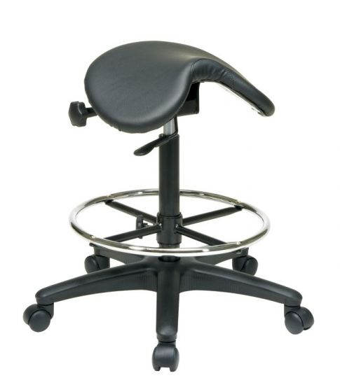 Backless Stool with Saddle Seat in Black
