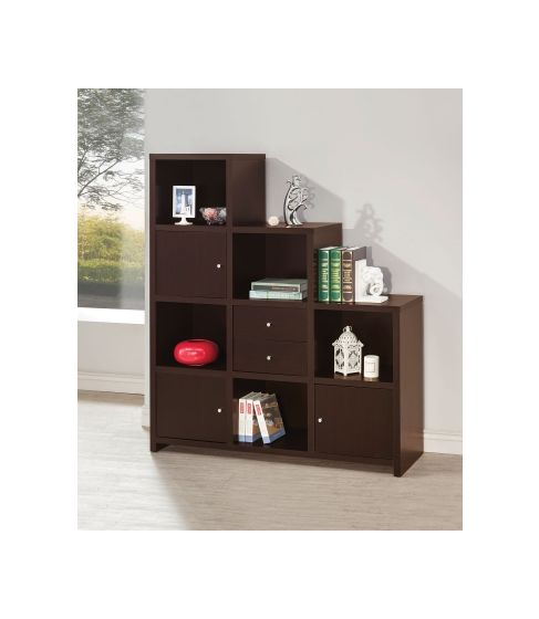 Asymmetrical Bookshelf in Cappuccino