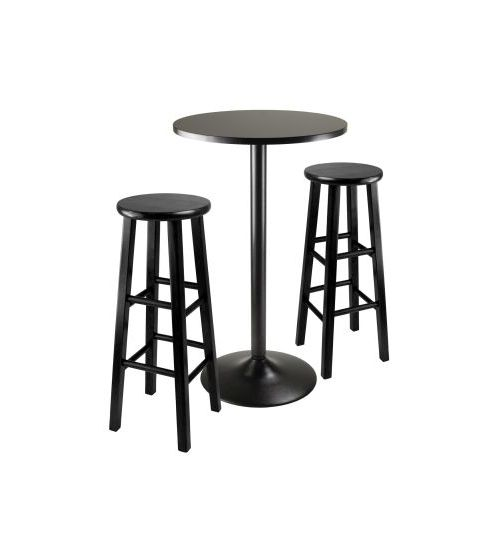 Obsidian 3 Piece Pub Table with 29' Stools in Black