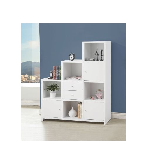 Asymmetrical Bookshelf in White