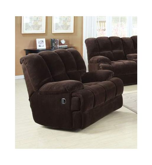 Ahearn Rocker Recliner (Motion) in Chocolate Champion