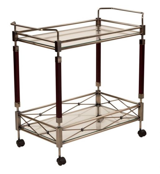 Melrose Serving Cart in Antique Brush Metal & Walnut Wood