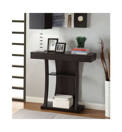 T-Shaped Console Table with 2 Shelves
