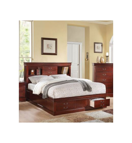 Louis Philippe Cherry King Storage Bed with Bookcase
