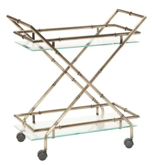 Lanai Serving Cart in Antique Brass