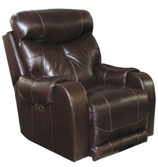 Leather Touch Headrest Power Lay Flat Recliner in Chocolate