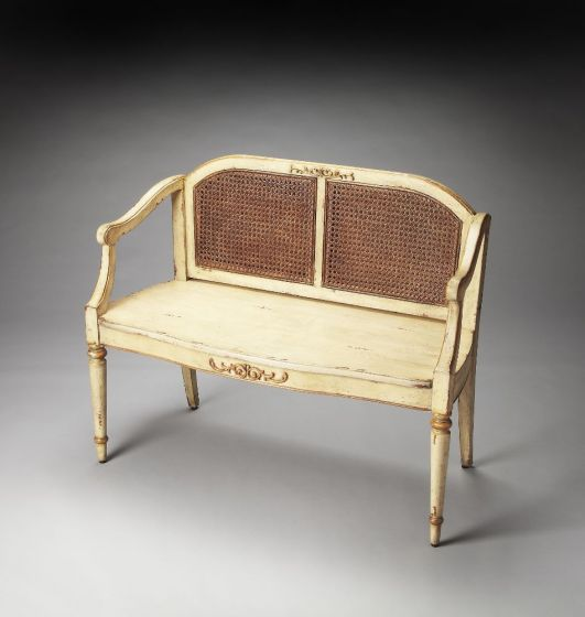 Grayson Cream & Gold Painted Bench