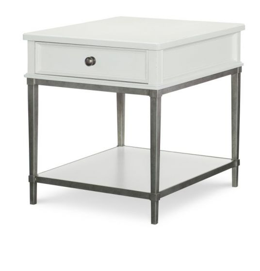 Upstate End Table With Metal Base In Bianco