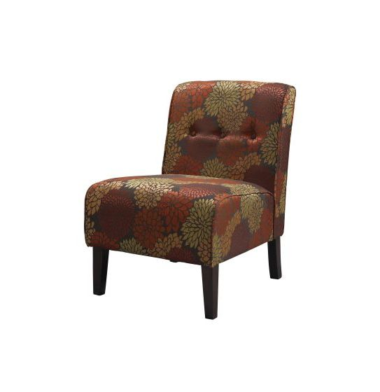 Coco Harvest Fabric Tufted Accent Slipper Chair in Harvest