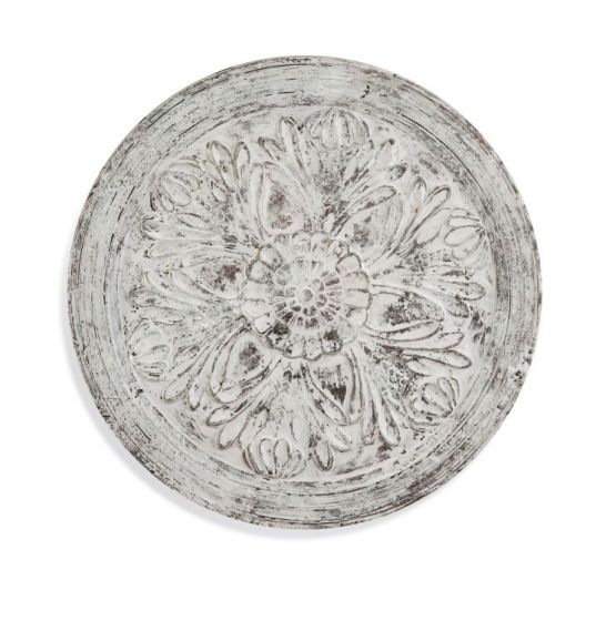 Medallion Wooden Wall Hanging in Weathered White