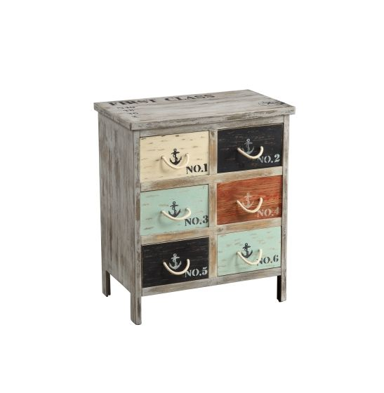 Six Drawer Chest in Bayview Grey Multicolor