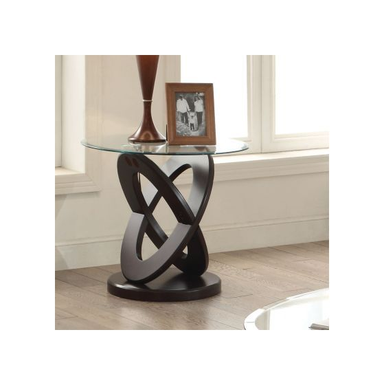 Gable Espresso Gl Top Round End Table