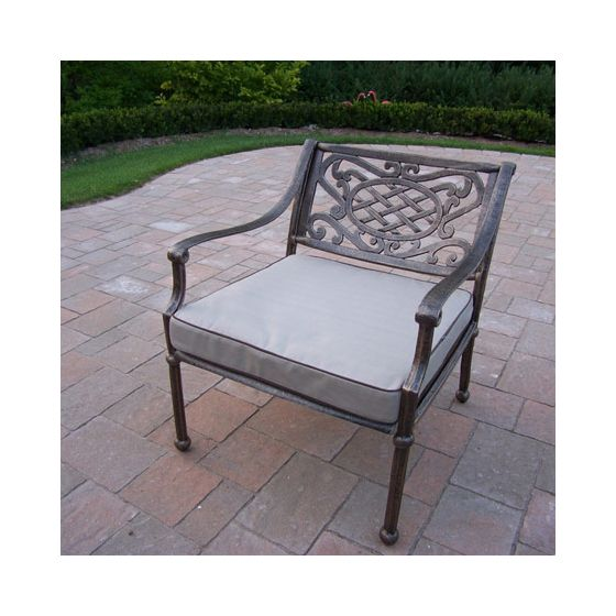 Tacoma Cast Aluminum Deep Seat Club Arm Chair With Cushion