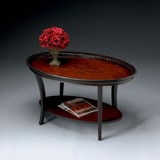 Hamlet Traditional Red & Black Painted Oval Cocktail Table