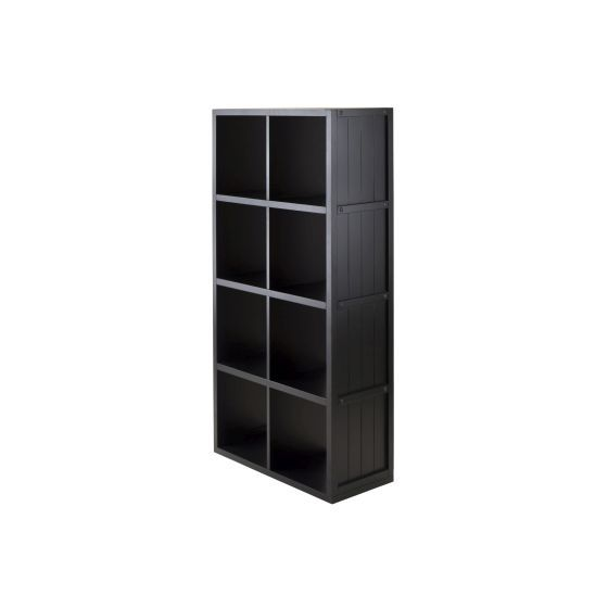 Timothy 4x2 Shelf with Wainscoting Panel in Black