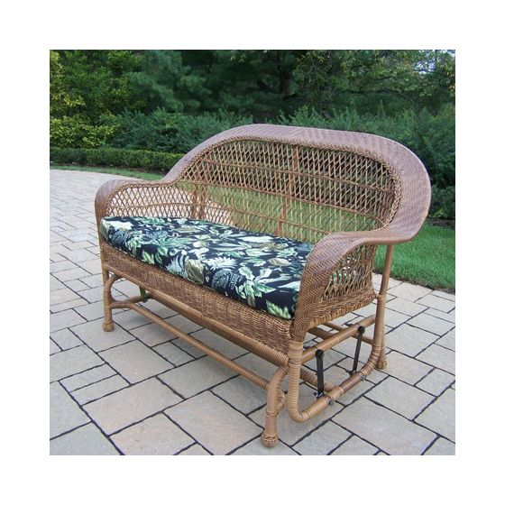 Coventry Wicker Glider With Black Floral Cushion in Natural