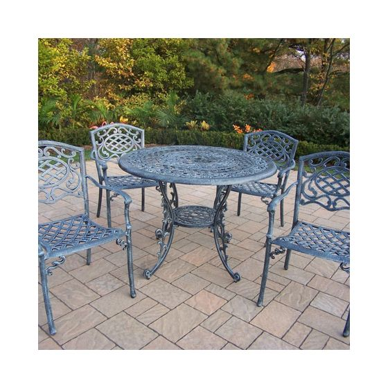 Mississippi Cast Aluminum 5 Piece Dining Set W/ Stack Chair