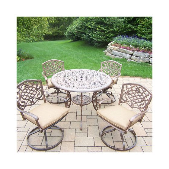Mississippi Cast Aluminum 5 Piece Dining Set W/ Rockers