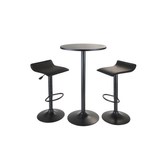 Obsidian 3 Piece Pub Set With 2 Airlift Stools in Black