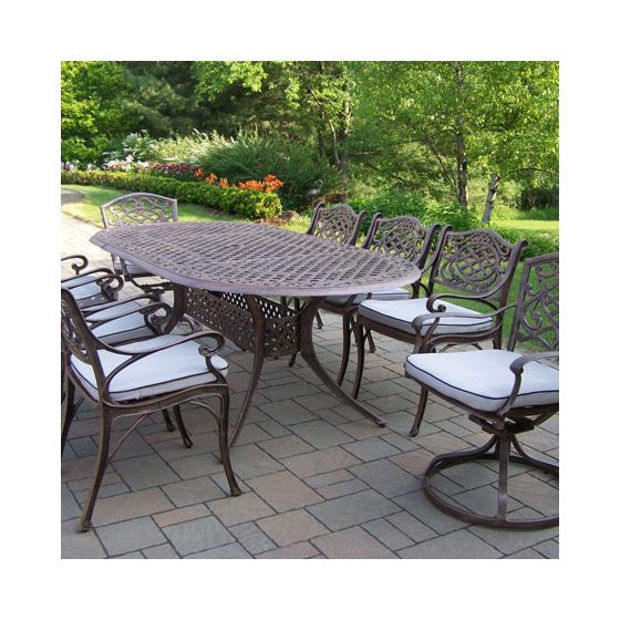 Mississippi Cast Aluminum 9 Piece Dining Set, 6 Chair