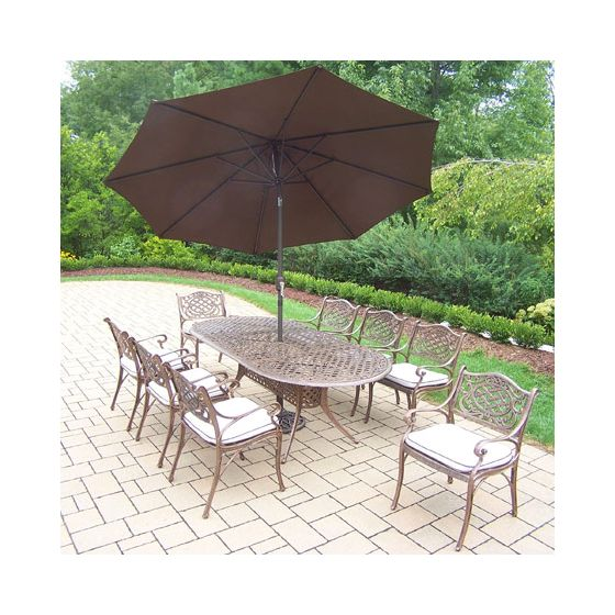 Mississippi Oval 11 Piece Dining Set, 8 Arm Chair & Umbrella