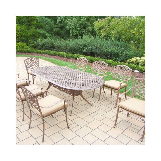 Mississippi Oval 9 Piece Dining Set, Cushioned Stack Chair