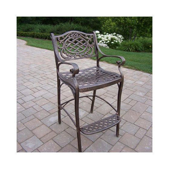 Mississippi Cast Aluminum Bar Stool With Foot Rest