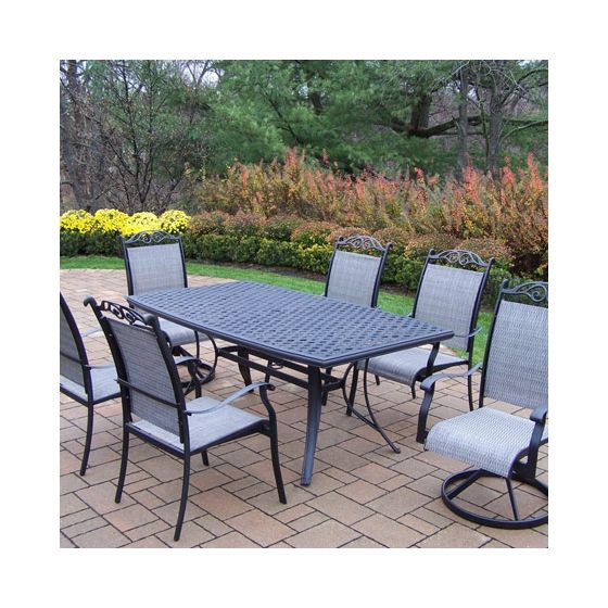 Cascade Aluminum 7 Piece Dining Set With Boat Shaped Table
