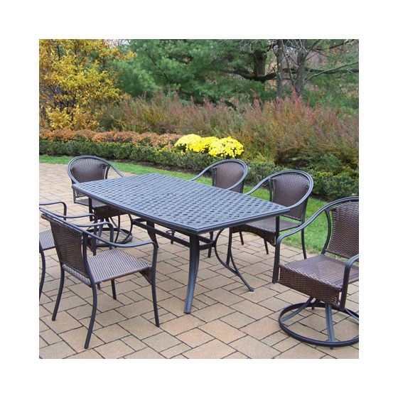 Tuscany 7 Piece Dining Set Boat Shaped Table & Wicker Chair